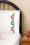 Tobin Home Crafts - Owls Pillowcases stamped for embroidery - A cute row of owls to embroider