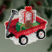 Mill Hill Winter Holiday Red Wagon Christmas Ornament counted cross stitch ornament with treasure - A red wagon filled with presents
