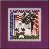 Mill Hill Liberty Garden counted cross stitch kit - A beautiful patriotic scene of a garden with the American flag