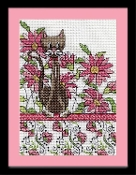 Design Works Pink Floral Cat counted cross stitch picture kit