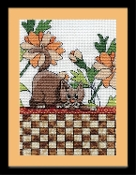 Design Works Brown Checkered Cat counted cross stitch picture kit