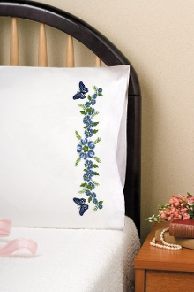 Tobin Home Crafts Passion Flower pillowcases stamped for embroidery