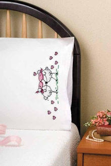 Tobin Home Crafts Kissing Sheep pillowcases stamped for embroidery