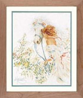 Lanarte Romantic collection - Horse and Flowers counted cross stitch picture kit