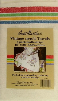 Aunt Marthas three pack multi stripe cotton kitchen dish towels