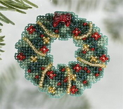 Mill Hill Winter Holiday collection Holly Wreath MH18-6303 Christmas Ornament counted cross stitch kit with treasure