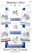 Yesterday's Charm Snow Fun Towels iron-on embroidery transfers patterns