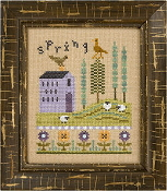 Lizzie Kate Flip-It, Spring - Counted cross stitch pattern, chart, buttons