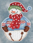 Mill Hill Snowbells - Jingle Snowman Debbie Mumm Christmas Ornament beaded counted cross stitch kit