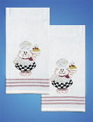 Tobin Home Crafts - Cat Chef Kitchen Towels stamped for embroidery