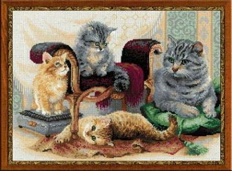 Riolis - Feline Family - Cats and Kittens counted cross stitch picture kit