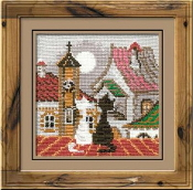 Riolis - City and Cats Spring - counted cross stitch picture kit