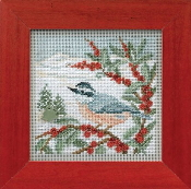 Mill Hill Buttons Beads Winter Series - Nuthatch beaded counted cross stitch kit