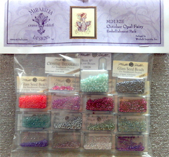 Mirabilia Designs October Opal Fairy MD132E embellishment pack, Mill Hill Beads