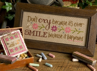 Lizzie Kate Boxer - Don't Cry Because It's Over counted cross stitch pattern, linen and embellishments