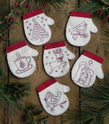 Rachel's of Greenfield Redwork Mittens - Christmas Ornaments felt embroidery kit