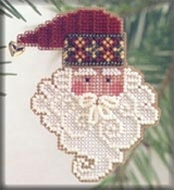 Mill Hill Charmed Santa Faces - Santa Noel Christmas Ornament counted cross stitch kit with charm