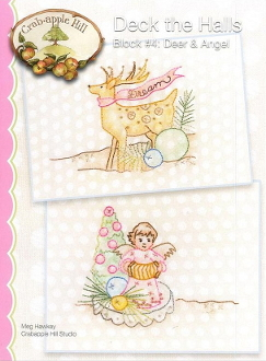 Crabapple Hill Studio Deck the Halls Deer Angel Christmas hand embroidery pattern