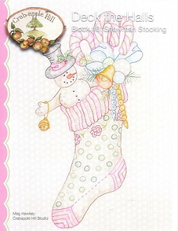 Crabapple Hill Studio Deck the Halls Snowman Stocking Christmas hand embroidery pattern