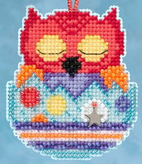 Mill Hill Owlets charmed ornaments - Huey Owl Easter beaded counted cross stitch ornament kit