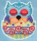 Mill Hill Owlets charmed ornaments - Finn Owl Easter beaded counted cross stitch ornament kit