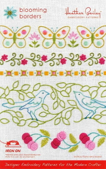 Heather Bailey hand Embroidery patterns Blooming Borders hot iron on transfers