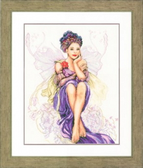 Lanarte Romantic Collection - Purple Butterfly Girl Counted Cross Stitch picture kit