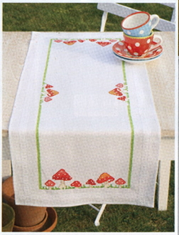 Vervaco - Toadstools Table Runner stamped for cross stitch kit with threads
