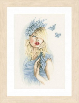 Lanarte - Blue Butterflies - counted cross stitch picture kit