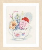 Lanarte - Flowers in a Teapot counted cross stitch picture kit