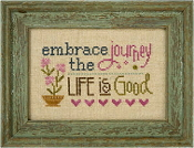 Lizzie Kate Flip-It, Embrace the Journey - Counted cross stitch pattern, chart, button