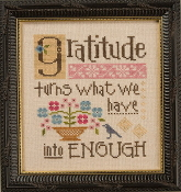 Lizzie Kate Boxer - Gratitude counted cross stitch pattern, linen and buttons
