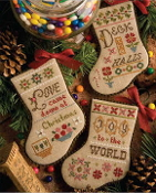 Lizzie Kate Flora McSamples 2015 Stockings Christmas Counted Cross Stitch chart with embellishments