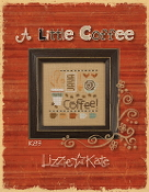 Lizzie Kate - A Little Coffee counted cross stitch pattern fabric buttons