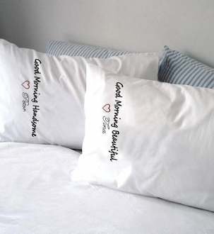 Design Works Crafts Yours Mine Handsome Beautiful pillowcases stamped for embroidery