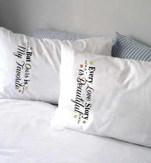 Design Works Crafts Yours Mine Love Story pillowcases stamped for embroidery
