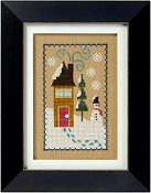 Lizzie Kate Flip-It, Snow House - Snowman Counted cross stitch pattern chart with button