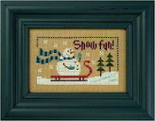 Lizzie Kate Flip-It, Snow Fun - Snowman Counted cross stitch pattern chart with button