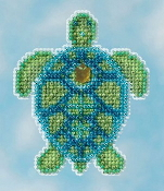 Mill Hill Spring Bouquet collection Sea Turtle MH18-1611 Ornament counted cross stitch kit with treasure
