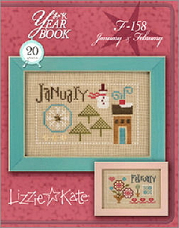 Lizzie Kate Double Flip, January February Yearbook Series Counted cross stitch pattern chart with charms