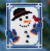 Mill Hill Winter Holiday collection Invisible Snowman MH18-1635 Ornament counted cross stitch kit with treasures