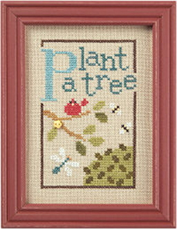 Lizzie Kate Green Flip-It, Plant a Tree Counted cross stitch pattern chart with button