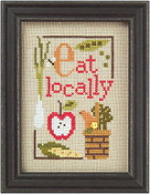 Lizzie Kate Green Flip-It, Eat Locally Counted cross stitch pattern chart with button