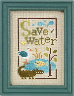 Lizzie Kate Green Flip-It, Save Water Counted cross stitch pattern chart with button