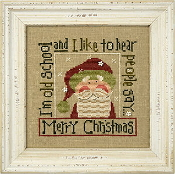 Lizzie Kate Snippet Old School Santa 2016 Christmas Counted cross stitch pattern, chart with buttons
