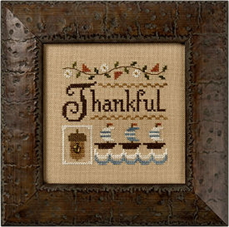 Lizzie Kate - A Little Thankful counted cross stitch pattern fabric embellishments