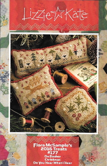 Lizzie Kate Flora McSamples 2016 Treats Christmas Counted Cross Stitch chart with embellishments