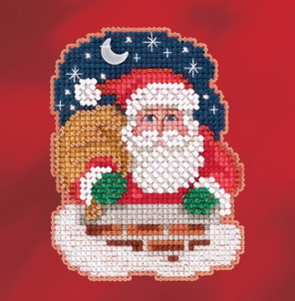 Mill Hill Winter Holiday collection Down the Chimney MH18-1731 Christmas Ornament counted cross stitch kit with treasure