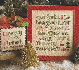 Lizzie Kate Dear Santa I've Been Good Christmas Counted Cross Stitch chart with embellishments