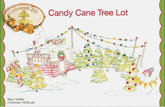 Crabapple Hill Studio Candy Cane Tree Lot Christmas hand embroidery pattern